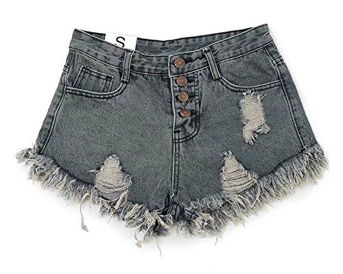 Wxian Women's Rough Selvedge Denim Jeans Shorts Mini Hot Secret Fit Belly Cuffed Short