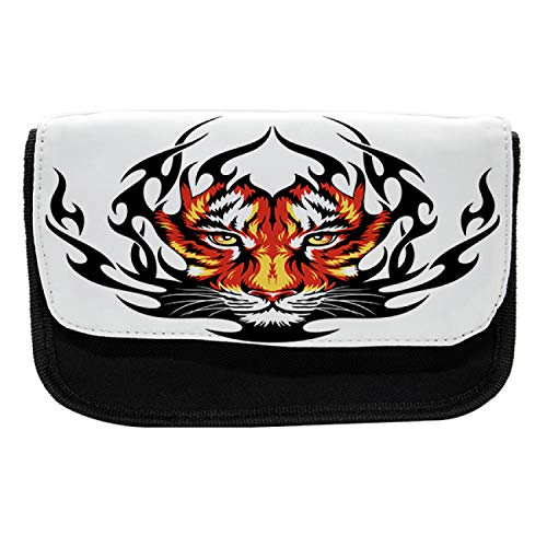 Ambesonne Tattoo Pencil Case, Jungle Tigers Prince, Fabric Pen Pencil Bag with Double Zipper, 8.5