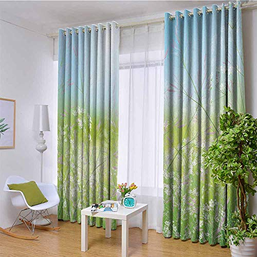 W72 x L108 Inch Apartment Decor Collection Window Treatment Thermal Insulated curtains Floral Field Meadow Fresh Grass Weeds Plant Herbs on the Earth with Bright Sky Graphic Full Light Blocking Drape