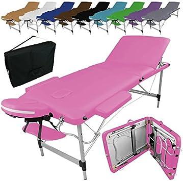 Linxor ® Mesa de masaje plegable 3 zonas de aluminio + accesorios ...