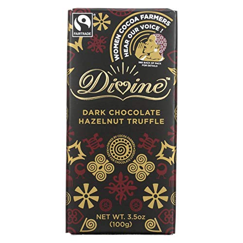Divine Chocolate Bar - Dark Chocolate - Hazelnut Truffle - 3.5 oz Bars - Case of -