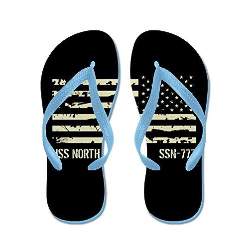 Cafepress Uss North Carolina - Flip Flops, Roliga Rem Sandaler, Strand Sandaler Caribbean Blue