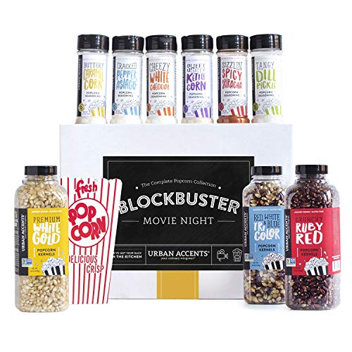 Urban Accents BLOCKBUSTER, Movie Night Popcorn Kernels and Popcorn Seasoning Variety Pack (Set of 10) - 3 Kernels, 6 Popcorn Seasonings and 2 sets of 8 Retro Boxes- Perfect Gift -