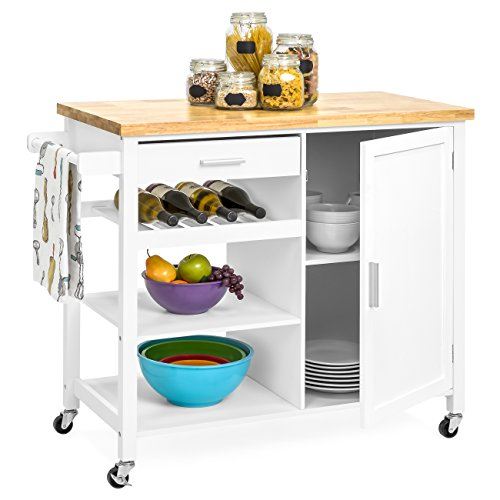 (Best Choice Products Portable Kitchen Island Cocktail Cart for Serving, Storage, Décor w/Wood Top, Wine Shelf, Cabinet, Drawer, Towel Rack - White)