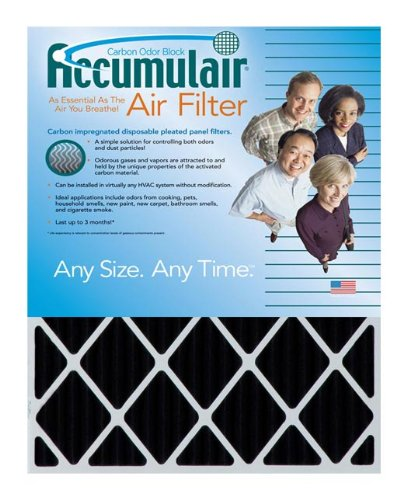 Accumulair Carbon 24x25x4 (23.5x24.5x3.75) MERV 8 Odor eliminating Air Filter/Furnace Filter (2 Pack)