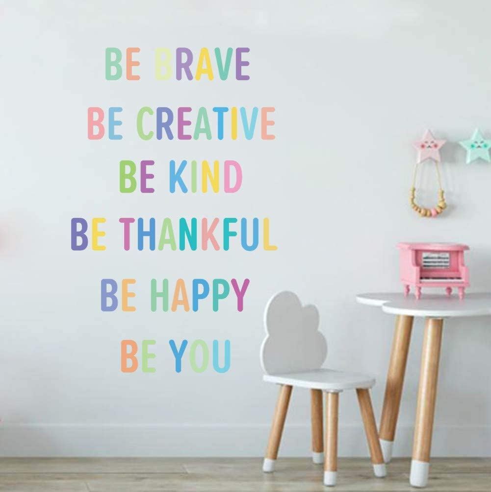 TOARTi Colorful Inspirational Lettering Quote Wall Decal-Be Brave, Be Creative, Be Kind, Be Thankful, Be Happy, Be You, Positive Quote Sticker for Classroom Kids Decoration