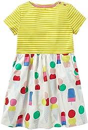 Baby Girls Cotton Summer Short Sleeve Dress Child Cartoon Pattern Stripe Dress