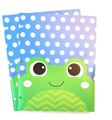 Pocket Buddies Durable Plastic Folders with Extra Front Pocket - Set of 2 (Frog)