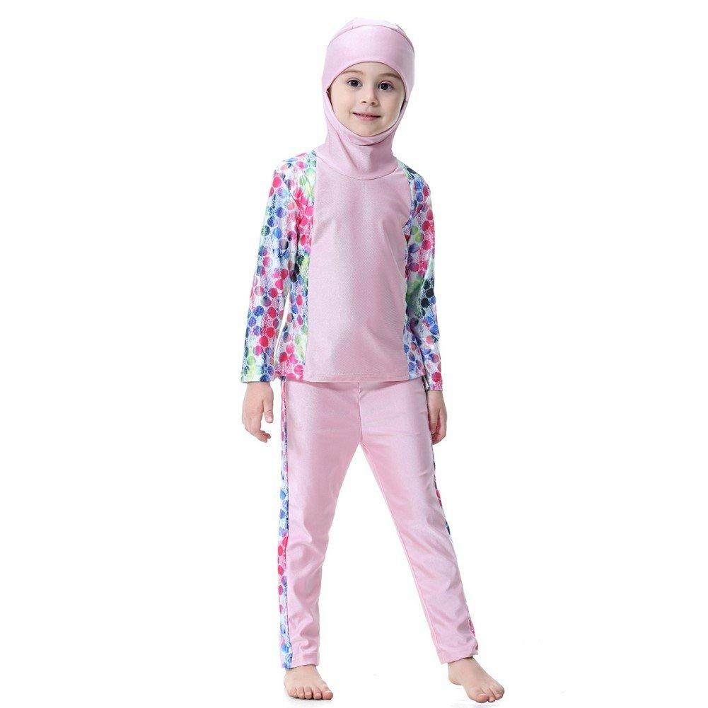 500286cb65fca KXCFCYS Muslim Swimwear for Kid Girls Children Modest Islamic Hijab  Swimsuits Burkini girl161-blue