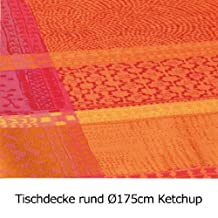 Garnier Thiebaut Coated Tablecloth Mille Wax Ketchup 69 Inch Round