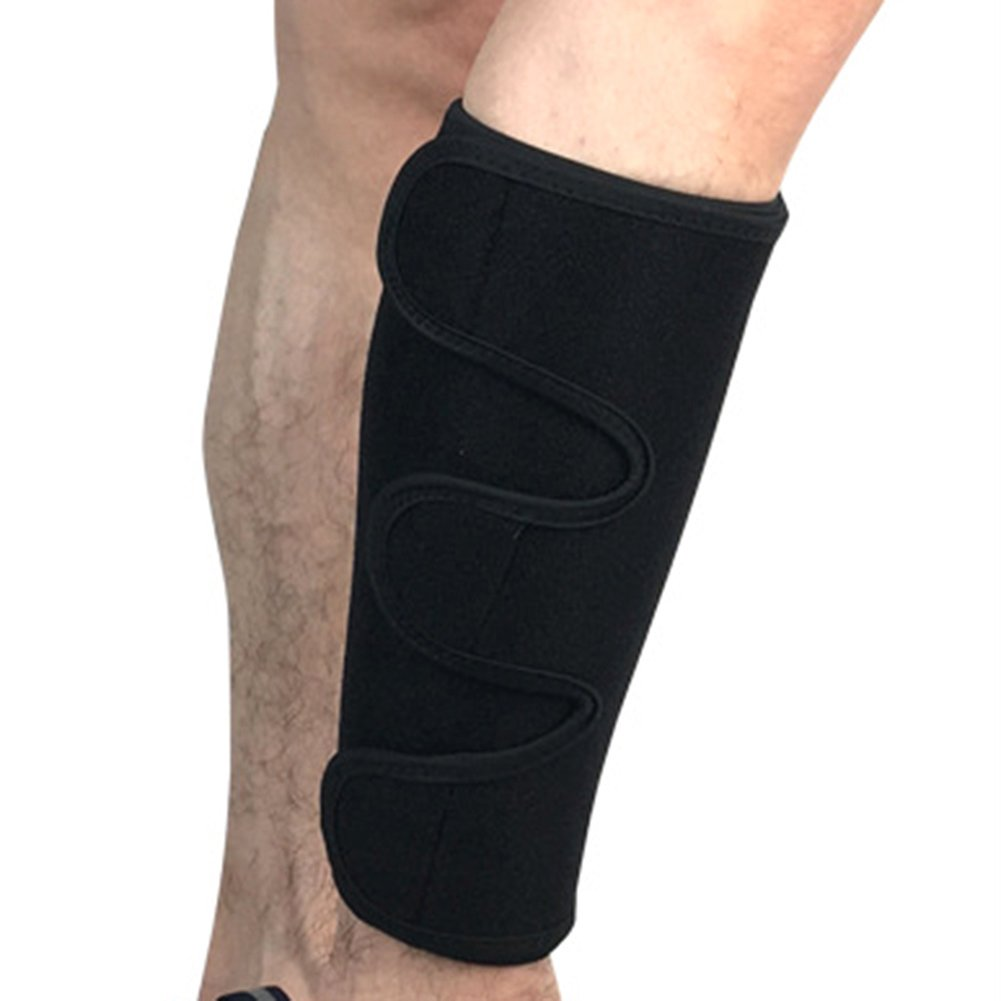 Mcolics Calf Shin Support Brace, Adjustable Compression Leg Sleeve Wrap Band for Running Cycling Sports - Great Shin Support Improves Blood Circulation & Reduces Leg Swelling Injury, 1 Sleeve (Black)