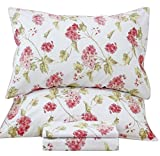 Queen's House French Country Floral Print Bed Sheet Linen Sets-Cal King,F