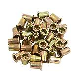 uxcell® 35 Pcs M6 Bronze Tone Carbon Steel Thread Flat Head Rivet Nut Insert Nutserts