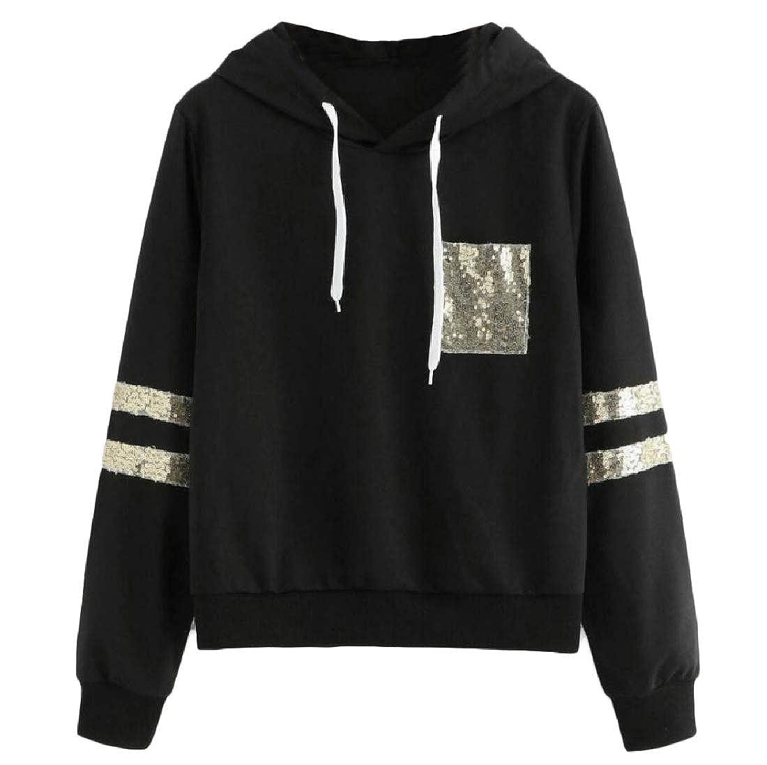 Sequin Splicing Loose Fit Basic Classics Pullover Sweatshirt