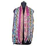 Mango Gifts Women's Silk Sari Fabric Scarves Scarfs 10 Strips Patti Trendy Stole