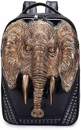 ae51d1f92bf5 3D Animal Elephant Backpack For Collage Punk Studded Knapsacks Zoo Animal  Bag For Children School For
