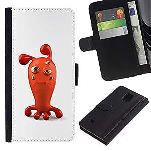 All Phone Most Case / Oferta Especial Cáscara Funda de cuero Monedero Cubierta de proteccion Caso / Wallet Case for Samsung Galaxy Note 4 IV // Sad Red 3D Figurine Bubble Cartoon Character