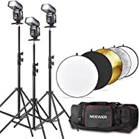 Neewer® TT560 Flash Speedlite Kit for Canon Nikon Panasonic Olympus Fujifilm Pentax Sigma Minolta Leica and Other SLR Digital SLR Film SLR Cameras, includes (3)Neewer TT560 Speedlite Flash + (1)32/80cm 5 in 1 Collapsible Circular Reflector + (3)71/180cm Photography Light Stands + (1)Lighting Kit Bag for Light Stand Umbrella