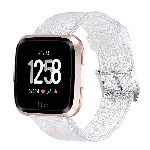 Apple Watch Band 38mm 40mm for Women, Glitter Silicone Sweatproof iWatch Strap Replacement Bands for Apple iWatch Bands Series 1 2 3 4 (Silver)