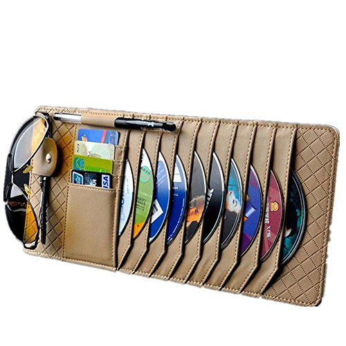 TO Design Auto Luxury Leather Auto Car Sun Visor Shade Organizer CD/DVD Sports Fashion Travel Holder Bag Cards Wallet Pocket Pen Glasses Clip  Cover Storage (Yellow)