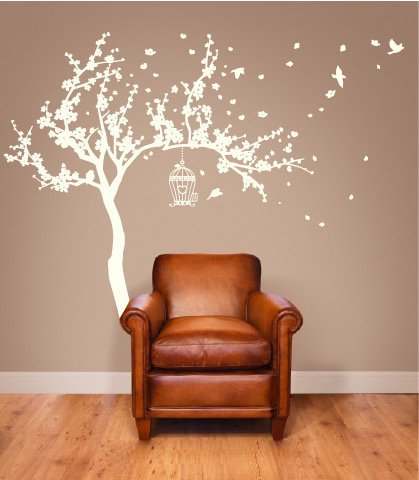 Japanese Cherry Blossom Birdhouse and Tree Large Wall Decal Sticker DIY Nursery Room Decor Art, All White, 72x92 inches