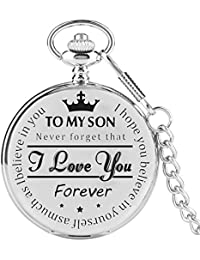 "Silver Pocket Watch,""to My Son I Love You Forever"" Pattern Quartz Full Hunter Engraved Pocket Watch with Chain Personalized Gift Steampunk Clock"