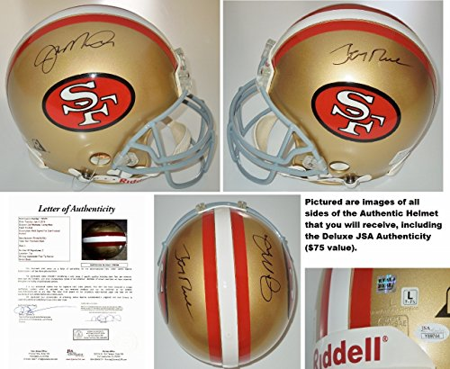 San Francisco 49ers Signed Helmets. Joe Montana and Jerry Rice Signed - Autographed  San Francisco 49ers Authentic Full Size Proline ... be5f54c84