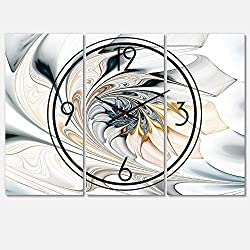 Designart White Stained Glass Floral Art Wall Art Design Modern 3 Panel Wall Decorative Clock - Home Decorations for Home, Living Room,Bedroom, Office Decoration Multi Panel Metal Wall Clock