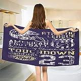 Sports,Bath Towel,Retro Style American Football College Theme Illustration Athletic Championship Apparel,Bathroom Towels,Purple Size: W 31.5'' x L 63''