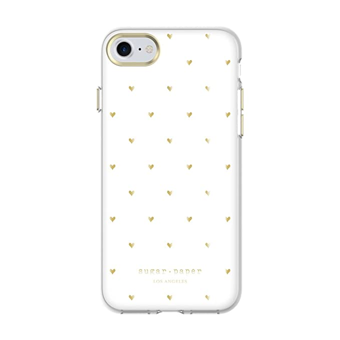 more photos 4933b 6eafe Sugar Paper Printed Case for iPhone 8 & iPhone 7 - Small Heart Metallic  Gold/White