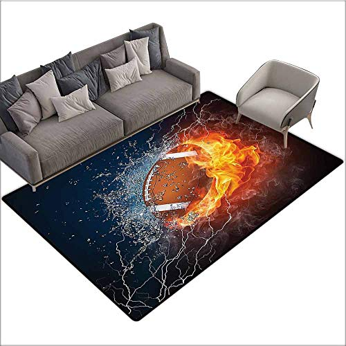 (Bedroom Living Room Area Rug Sports Decor Collection,Football on Fire and Water Flame Splashing Thunder Lightning Abstract Print,Navy Orange Peru White 80