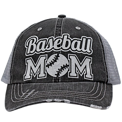 Baseball Mom Dad Sports Glittering Trucker Style Cap Hat| Rocks any Outfit|(White)
