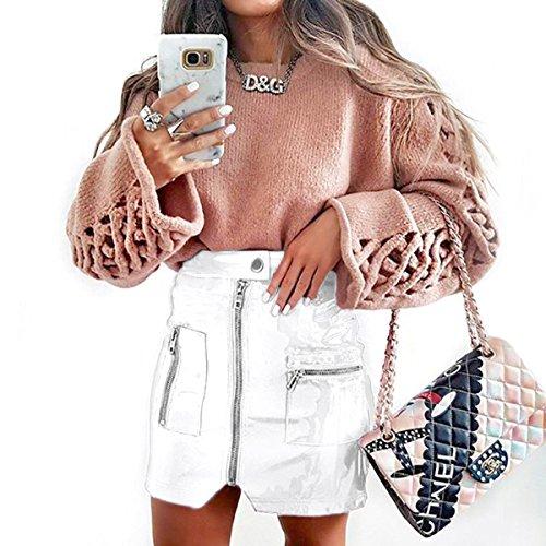 Ylangareee New Femme Zipp Jupe Cuir Moulante Haute Waist Skirt Chic Femme Sexy Mini Jupe White