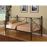 Kings Brand DB002 Metal Day Bed with Frame and Rails, Twin, Texture Black Finish