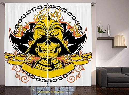 Living Room Bedroom Window Drapes/Rod Pocket Curtain Panel Satin Curtains/2 Curtain Panels/84 x 84 Inch/Japanese,Skeleton Warrior with Axes on Helmet in Fire and Chain Medieval Asian Mythology,Yellow from YOLIYANA