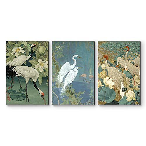 - wall26 - 3 Panel Canvas Wall Art - Cranes Wading in Water Canvas Art Set - Giclee Print Gallery Wrap Modern Home Decor Ready to Hang - 16