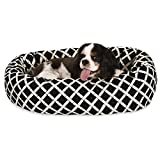 24 inch Black Bamboo Sherpa Bagel Dog Bed For Sale