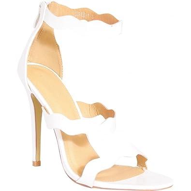 783b243b5ef Ladies White Strappy Ankle Strap Open Toe Stiletto High Heels Shoes  UK8 EURO41 AUS9