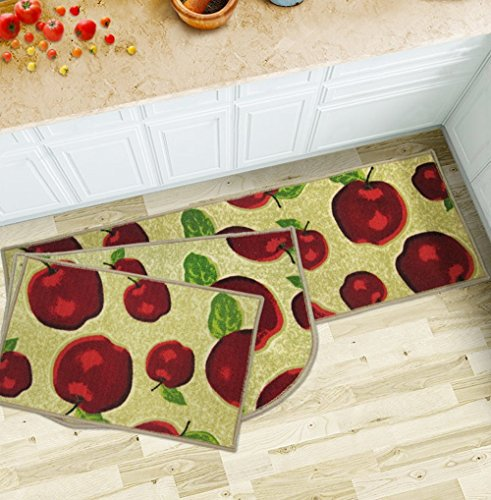 Wolala Home 3 Piece Sets Rubber Backing Non-slip Red Apple