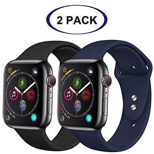 R-Fun Compatible with Apple Watch Band 44mm 42mm, Soft Silicone Sport Replacement Wristband for iWatch Series 4, Series 3, Series 2, Series 1 (Midnight Blue + Black, 42mm/44mm s/m) ()