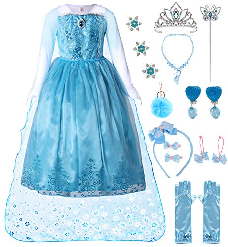 Girls Sequin Princess Long Sleeve Dress Cosplay Costume Set (Blue, 2T-3T)