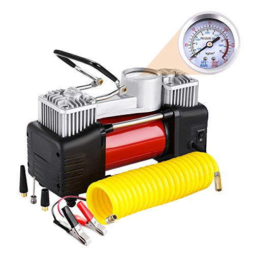 Audew Dual Cylinder Air Compressor Pump  Heavy Duty Portable Air Pump  Auto 12V Tire Inflator For Car  Truck  Rv  Bicycle And Other Inflatables