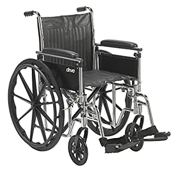 "Drive Medical Chrome Sport Wheelchair, Adjustable and Detachable Full Arms, Swing Away Footrests, 18"" Seat"