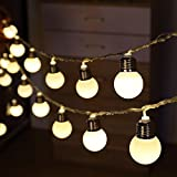 Solar Bulb Lights, DINOWIN 6M 20 LED Plastic Solar Bulbs String Lights Waterproof with 2 Modes Lighting for Outdoor, Garden, Christmas Decorations (Warm White)
