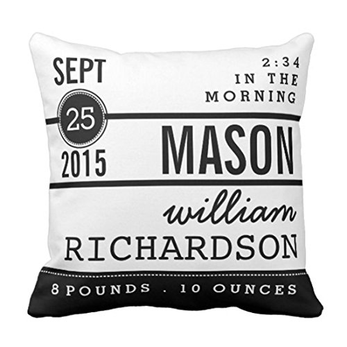 Emvency Throw Pillow Cover Contemporary Modern Birth Baby Boy Personalized Keepsake Decorative Pillow Case Home Decor Square 20 x 20 Inch Pillowcase (Throw Baby Personalized)