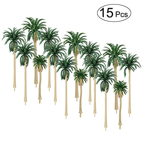LANREN 15Pcs Model Palm Cononut Trees 2.8'' - 6.3'' / 7 - 16 cm Mixed Model Trees HO O N Z Scale, Perfect for All Scenery Landscape Cake Toppers Decoration]()