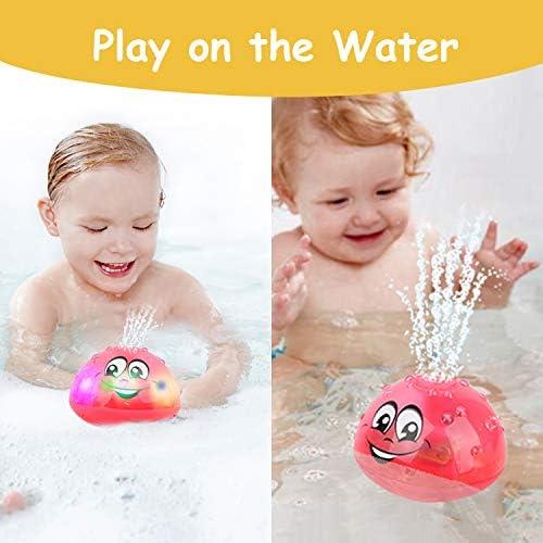 51wF8E0oNRL. AC - Wellvo Baby Bath Toys, LED Light Up Bath Toys For Kids Toddlers Infant Boys And Girls, Sprinkler Shower Pool Bathroom Bathtub Toys For Baby (Pink)