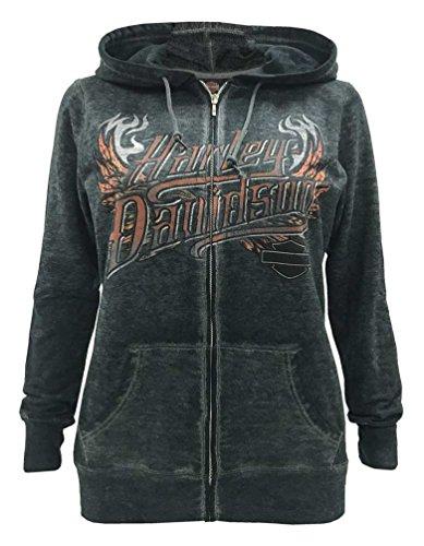Eagle Full Zip Hoodie - Harley-Davidson Women's Eagle Invincible Full-Zip Burnout Fleece Hoodie (L)