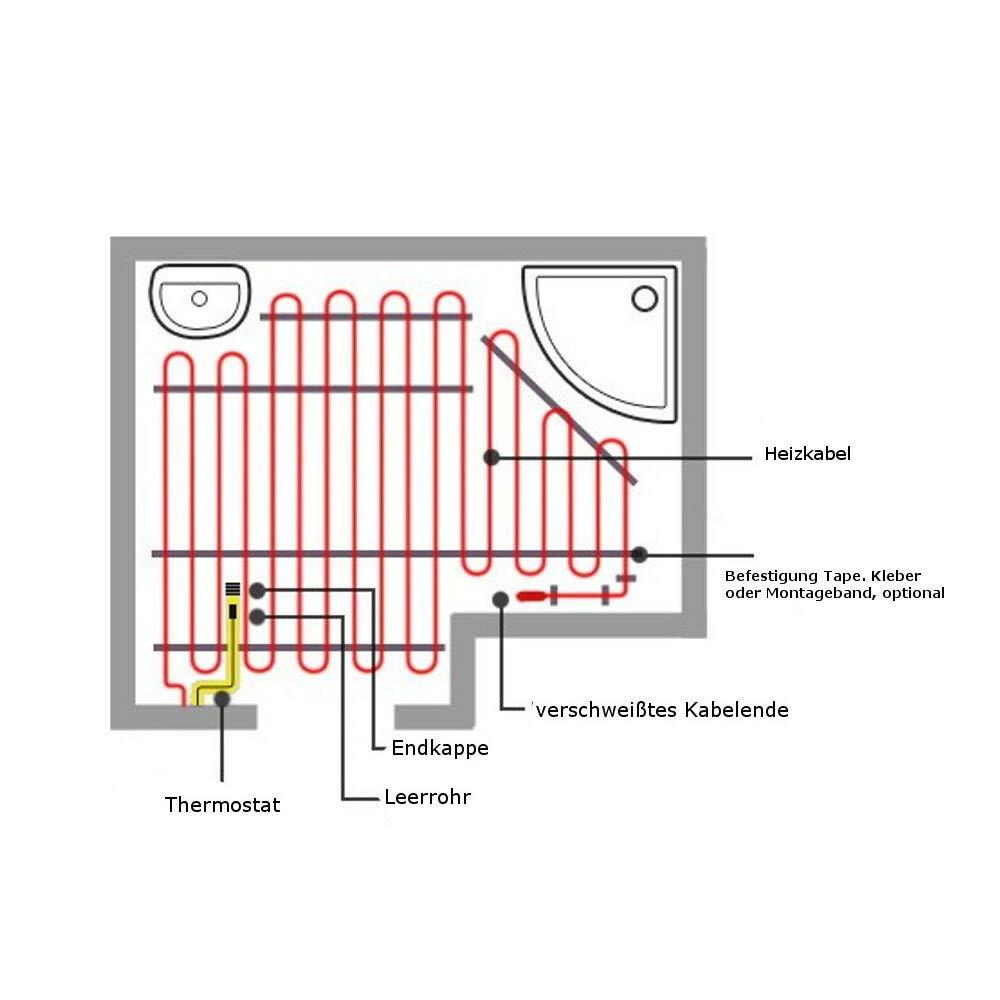 153m Heating Cable Heizkabel f/ür Holz Kork PVC Laminat mit 3m Anschlusskabel