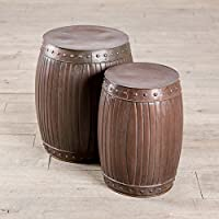 Copper Fluted HANDMADE Round Barrel End Table Stools - Copper (Set of 2)